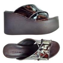 Sandalias Plataforma Zapatos Mujer Taco Cuero Varios Colores