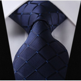 Gravata /de Seda Importada Cor Azul Com Losangos