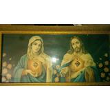 Antiga Gravura Quadro Jesus E Maria Século Passado
