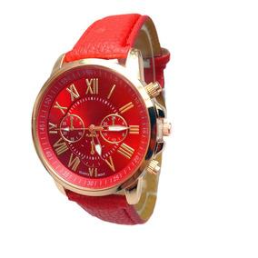 Relógio De Pulso Origina Geneva Couro Pu - Vermelho