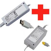 2 Fonte Gamepad Do Wiiu Carregador Nintendo + Fonte Console