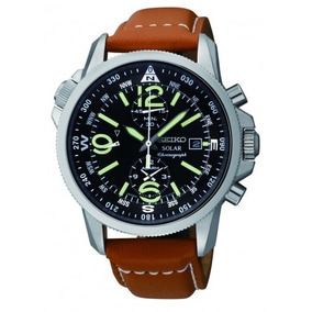 Seiko Solar Chronograph 100m Leather Pilots Watch Ssc081p1