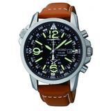 Seiko Solar Chronograph 100m Leather Pilots Watch Ssc081p1