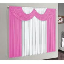 Kit Sala Com 1 Cortina Paris Rosa/branco 2m E 5 Veda Porta