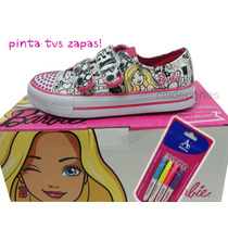 Zapatillas D Muñeca Barbie C/brillo Y Marcadores Para Pintar