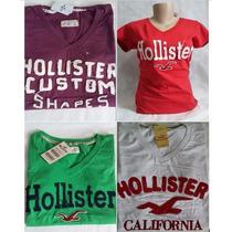 Camiseta Feminina Hollister E Abercrombie Kit 3 Peças