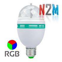 Lampara De Led Rgb Giratoria Luces Dj Efecto Bola Magica N2m