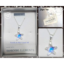 Dije Swarovski Element Estrella De Mar 16mm Cadena Plata 925