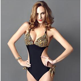Hermoso Bikini Monokini Vintage, Push Up Leopardo