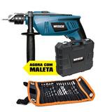 Furadeira De Impacto 750w 1/2 Maleta Wesko + Kit 30 Pçs 110v