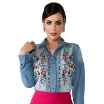 Camisa Camisa Jeans Bordada Moda Evangélica Frete Grátis
