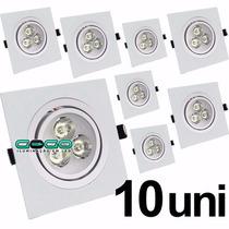 Kit 10 Spot Led 3w Quadrado Direcionavel Embutir Bivolt