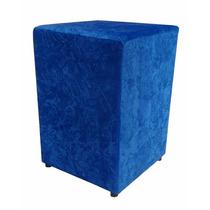 Puff Pufe Puf Quadrado Decorativo Sala Suede Azul Amassado