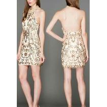De $2500 A $2000 Vestido Light Gold Pedrería Fina Talla 4