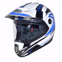 Capacete Yohe Trail Sport Cross Branco Azul Com Frete Grátis