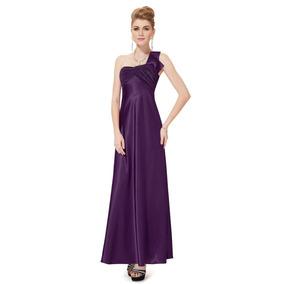 Vestido Feminino Festa Formatura Cetim Longo Roxo, Royal
