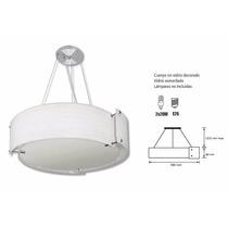 Candil Cuerpo En Aluminio Pantalla Vidrio Esmerilado Blanca