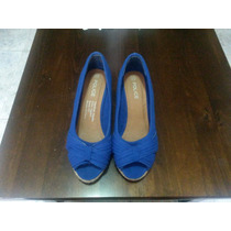 Sandalias De Dama Color Azul Eléctrico