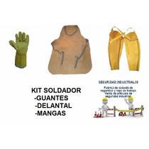 Kit De Soldar Combo Delantal Liso Guantes Mangas De Soldador