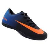 Chuteira Infantil Futsal Nike Mercurial Preto E Azul Mod:142
