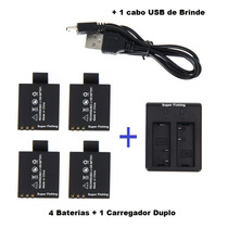 4 Baterias +1 Carregador Duplo P/ Camera Ultra Hd 4k
