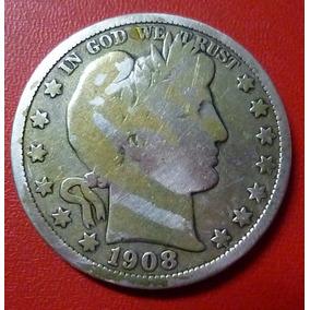 Usa Moneda 1/2 Dollar Barber 1908 D Plata 900 F-