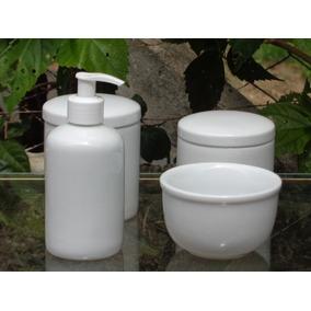 Kit Higiene Porcelana Potes Bebê Banheiro Lavabo Saboneteira