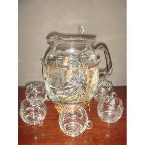 Antigua Ponchera,cristal Tallado Engarzada En Bronce 3,1/2 L