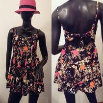 Vestido Fibrana Estampado Bretel Regulable Corto T 2 Nuevo