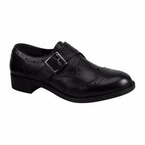 Zapatos Oxford Bostoneanos Piel Con Hebilla Mujer