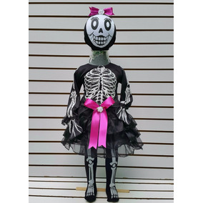 Disfraz Tutu Esqueleto Calaca Calavera Muerte Halloween Niña