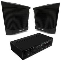 Kit Sonorização 2 Caixas Som Ambiente 10w + Amplificador