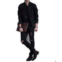 Calça Masculina Jeans Sarja Skinny Preta Rasgada Mod4