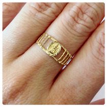 Anel Nossa Senhora Aparecida Joia Ouro 18k-750 Joias Kgshop