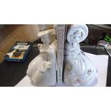Antiguos Apoya Libros Figuras En Ceramica En Blanco Y Oro