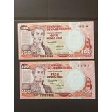 2 Billetes De 100 Pesos Colombianos Del 7 De Agosto De 1991