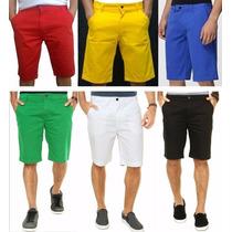 Promoção Kit C/ 5 Bermudas Sarja Jeans Masculino Coloridas