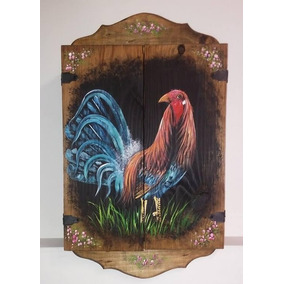 Alacena Decorativa Madera Antigua Pintado En Oleo Gallo