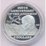 Bahamas Plata 925 Moneda 5 Dólares 1992 Canal Panamá Proof