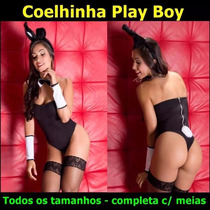 Lingerie Coelha Playboy Body Plus Size Gg Sexy Fantasia