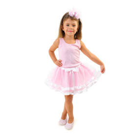Fantasia Infantil Tutu Bailarina Rosa Luxo Com Frete Grátis