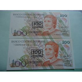 Cédulas 100 Cruzeiros 1990 C211a Reposição *0003 E *0004 Fe