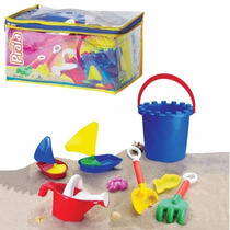 Jogo Kit Brinquedos Praia Areia Balde Regador Pazinha 6 Pe