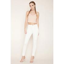 Jeans Pantalon Clásico Color Blanco Forever 21 Original