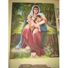 Pintura Al Oleo Sobre Tela El Amor De Una Madre