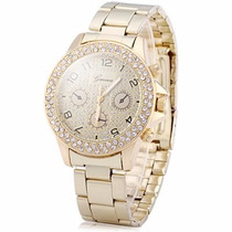Reloj Dama Geneva Diamante Cuarzo Correa Y Caratula Dorada