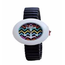 Reloj Tuogi Blanco Con Negro Ancla Moda Dama **.-