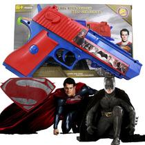 Arma Brinquedo Pistola Nerf Atira Batman Superman + 3 Dardos
