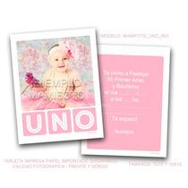 Tarjeta Nena Bebe En 10x15 Con Foto Primer Añito Cumpleaños
