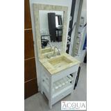 Vanitory De Diseño 60 Cm - Mesada Marmol Travertino